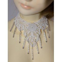 White Beaded Lace Choker SD 1/3 Size